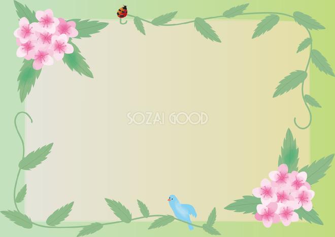 下野しもつけ夏6月 8月の花フレーム無料イラスト73671 素材good