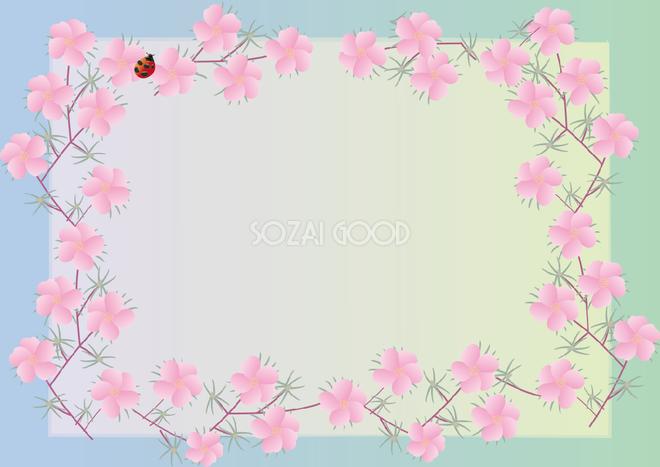 松葉牡丹 まつばぼたん 夏7月 10月の花フレーム無料イラスト 素材good