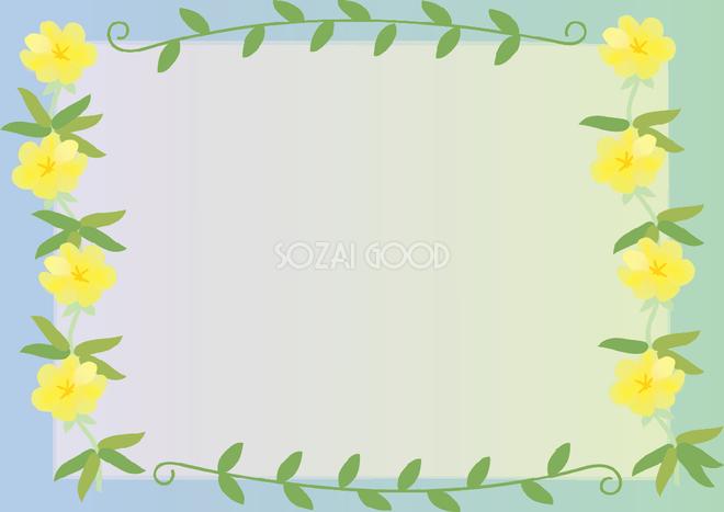 待宵草 まつよいぐさ 夏7月 10月の花フレーム無料イラスト 素材good