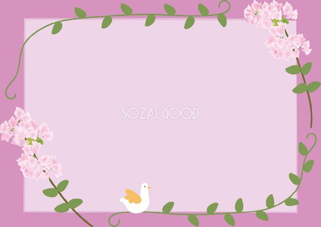 百日紅 さるすべり 夏7月 10月の花フレーム無料イラスト 素材good