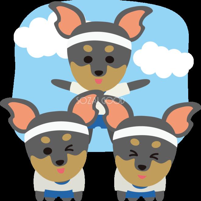 ミニチュアピンシャー犬のかわいい運動会組み体操動物無料イラスト