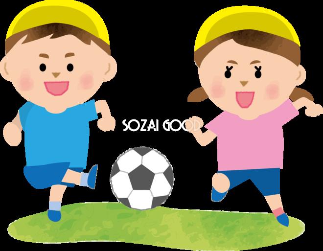 かわいい男児女児一緒にサッカーをしている保育園無料イラスト75308