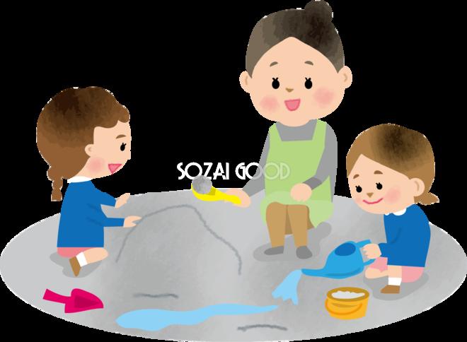 保育園の園庭で外遊び砂場をする子供と保育士の保育園無料イラスト