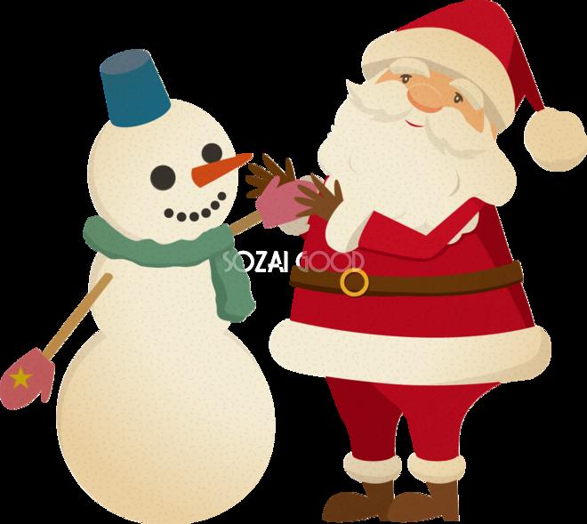 おしゃれなサンタクロース雪だるまにプレゼント無料イラスト75874