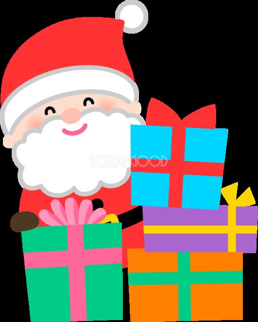 かわいいサンタクロースプレゼントがたくさん無料イラスト75893 素材good