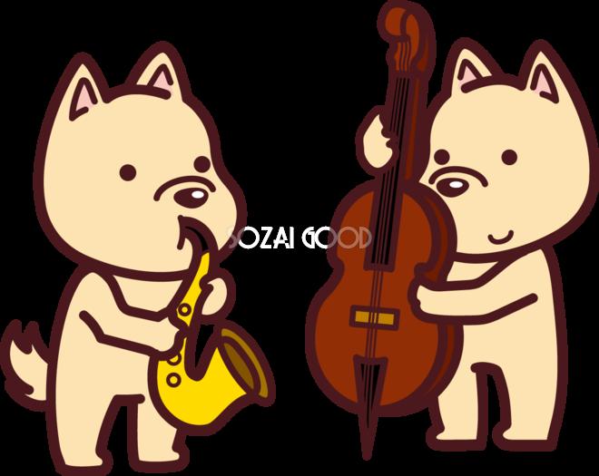 戌の無料イラスト かわいいjazzを奏でる2018干支76091 素材good