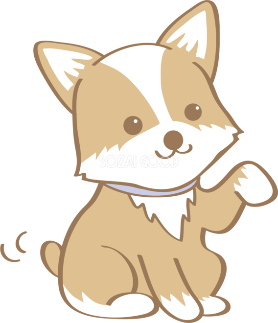 かわいいコーギーお手犬の無料イラスト80008 素材good
