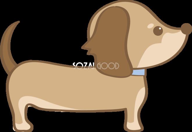 かわいいダックスフンド横向き犬の無料イラスト80034 素材good