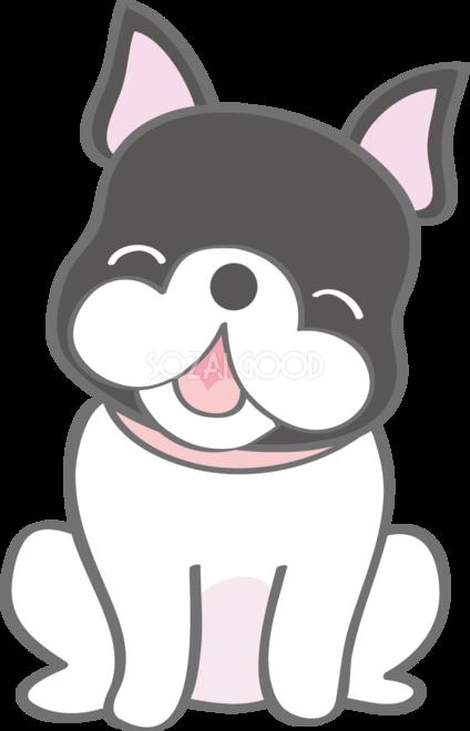かわいいフレンチブルドッグ笑顔犬の無料イラスト80165