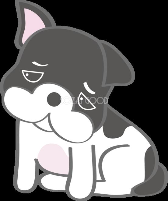 かわいいフレンチブルドッグ悲しい犬の無料イラスト80170 素材good