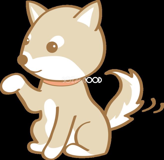 かわいい柴犬お手犬の無料イラスト80174 素材good