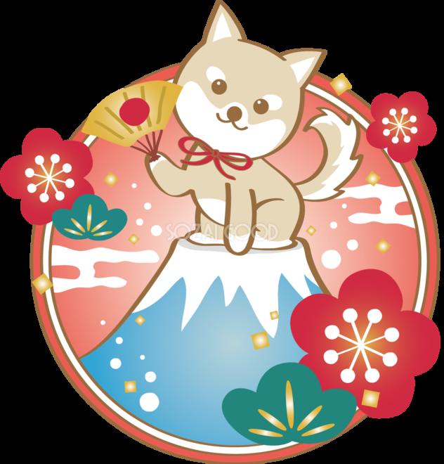 戌年(富士山)和風2018柴犬のかわいい無料イラスト80188