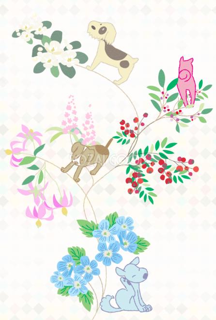 犬と花とつるのおしゃれ縦背景無料イラスト80361 素材good