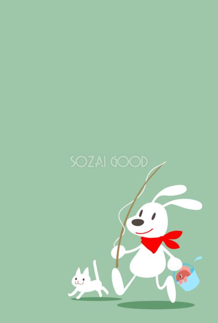 犬と魚釣りのおしゃれ背景無料イラスト80363 素材good