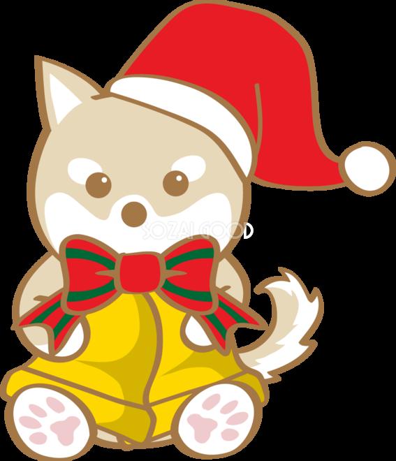 かわいいクリスマスベルを持つ柴犬サンタクロース無料イラスト80593