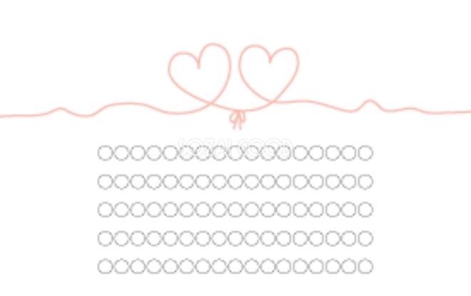 結婚式メッセージカードデザイン結んだハートイラスト無料テンプレート