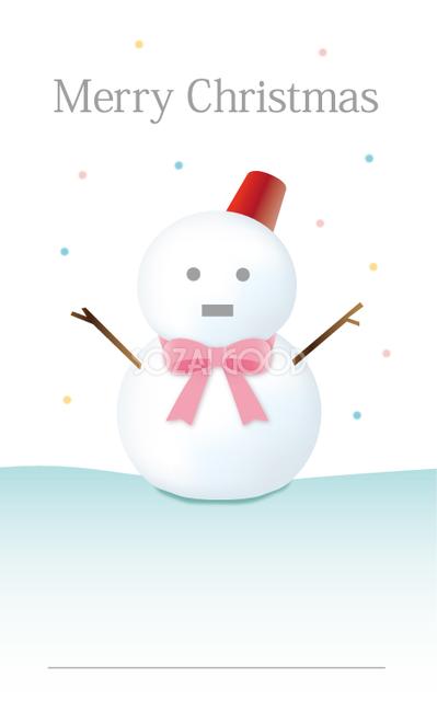 かわいいクリスマスメッセージカードデザインリボン雪だるまイラスト