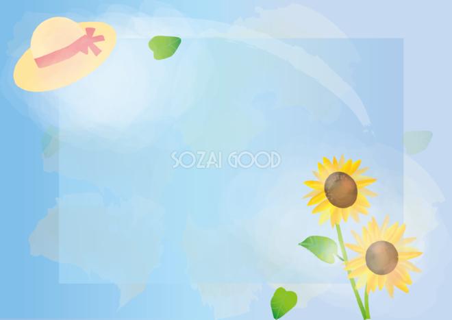 ひまわりシンプル麦わら帽子と空青色花のフレーム無料イラスト81319