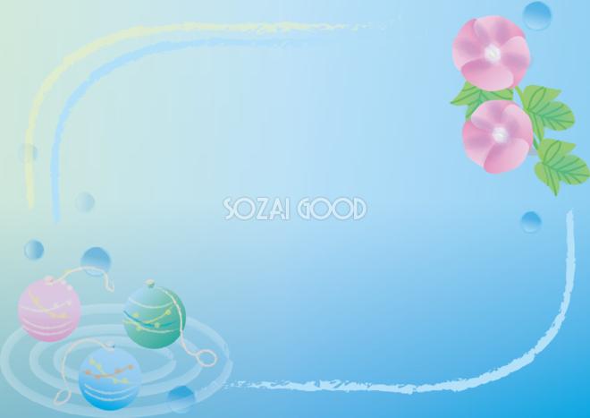 かわいい夏祭り水風船と夏イメージの朝顔で囲むフレーム枠イラスト無料