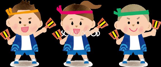 ソーラン節を踊る子供たち 運動会無料イラスト81350