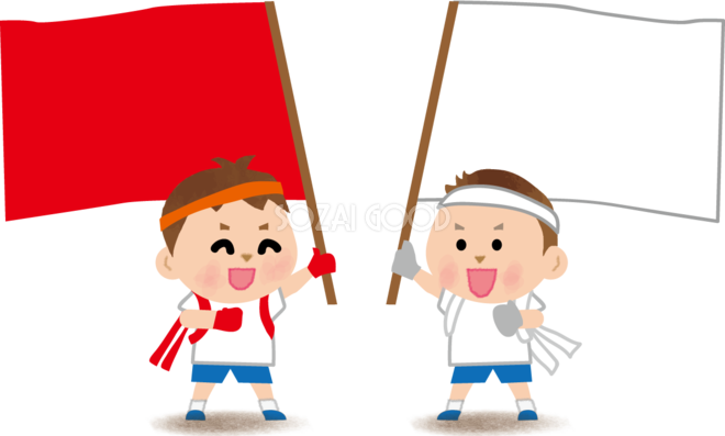 運動会で大きな旗を持って子供たちが応援合戦している無料イラスト81354