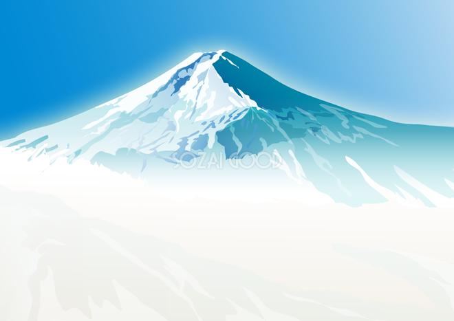 かっこいい富士山リアル青空背景無料イラスト81582 素材good