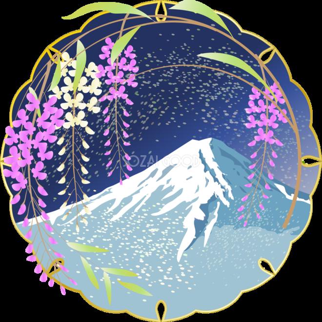 かっこいい富士山藤の花背景無料イラスト81586 素材good