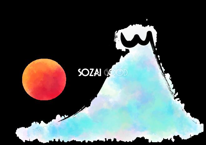かわいい富士山筆ストローク背景無料イラスト81595 素材good