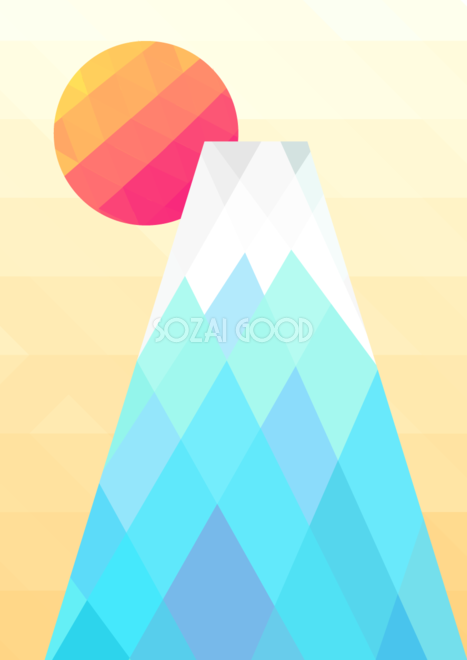 かわいい 富士山ポリゴン背景無料イラスト81603 素材good