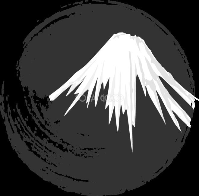 白黒 富士山筆サークル背景無料イラスト81617 素材good