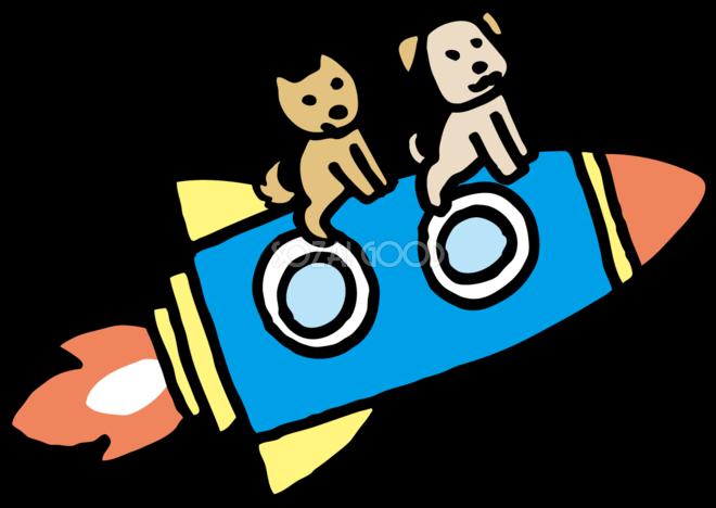 犬がロケットで宇宙旅行 かわいい無料イラスト81758 素材good