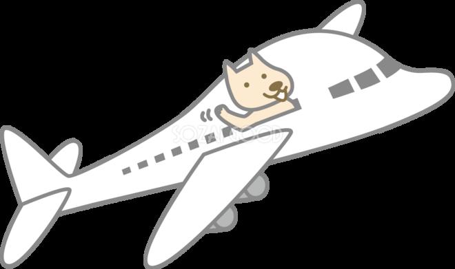 飛行機に乗った犬 かわいい無料イラスト81808