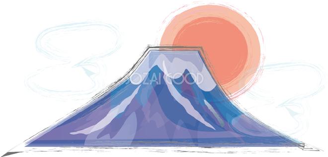 筆描き風 富士山 日の出と雲 無料イラスト82681 素材good