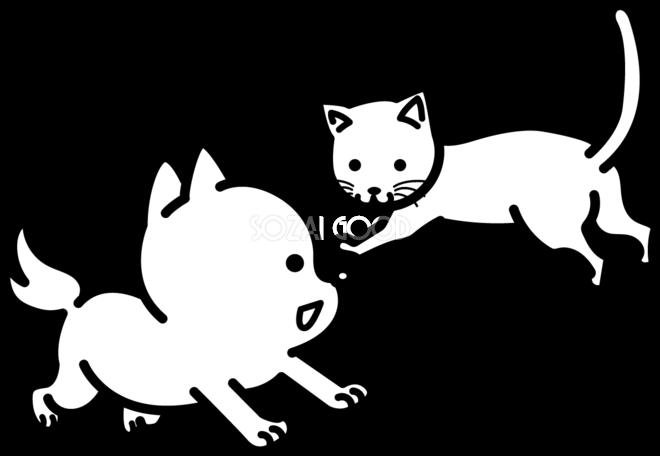 猫と犬 かわいい白黒の犬イラスト無料82869 素材good