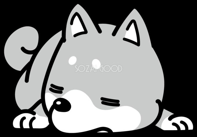 爆睡 かわいい白黒の犬イラスト 無料 870 素材good