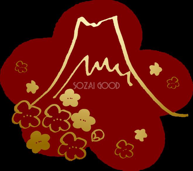 かっこいい和風 富士山金の梅背景無料イラスト82892 素材good