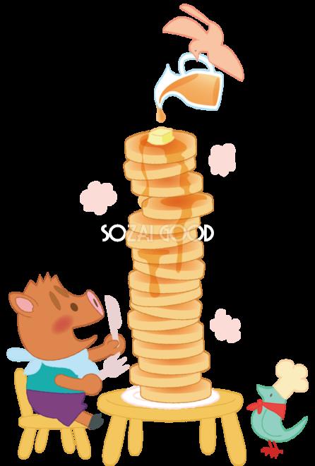 かわいいイノシシパンケーキ亥年の年賀状2019背景無料イラスト83000