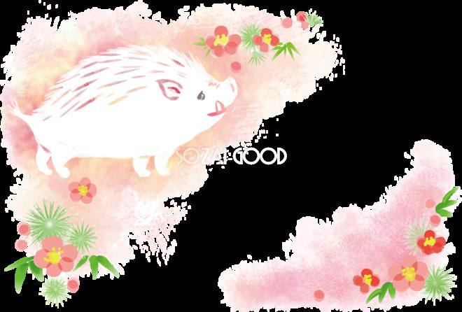 かわいいイノシシパステルカラーピンク亥年の年賀状2019背景無料