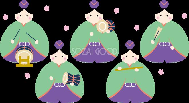 丸い形の五人囃子 ひな祭りイラストかわいい無料 フリー83055 素材good