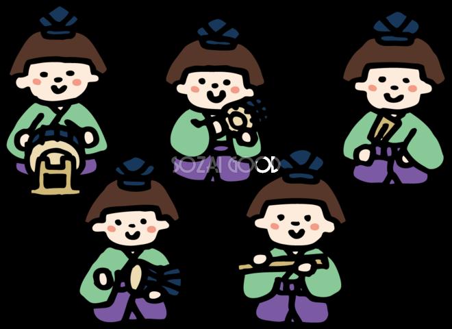 手描き風の正面の五人囃子 ひな祭りイラストかわいい無料 フリー83065