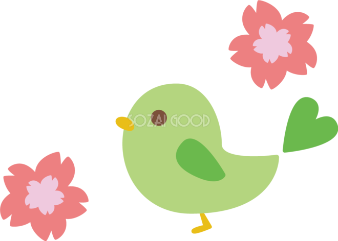 桜と可愛い小鳥イラスト 無料 フリー83087 素材good
