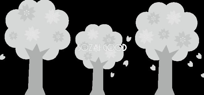 グレースケールの3本の可愛い桜の木 白黒イラスト83141 素材good