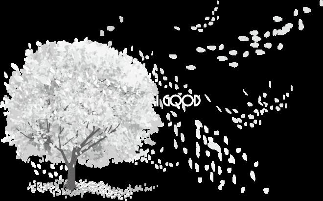 グレースケールの一本の桜の木から風で舞う花びら透過 白黒イラスト83150