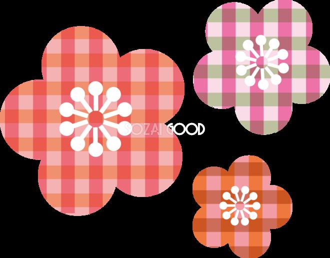 かわいいチェック柄の桃の花 ひな祭り無料イラスト83178 素材good