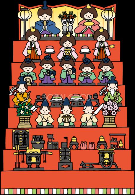 かわいいひな祭り7段飾り無料イラスト83181 素材good