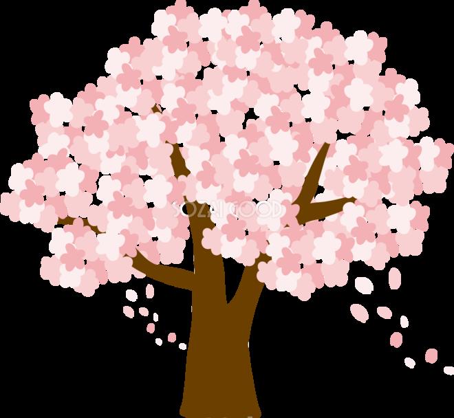 かわいい桜の花びらが舞う大きな桜の木イラスト無料フリー83344 素材good