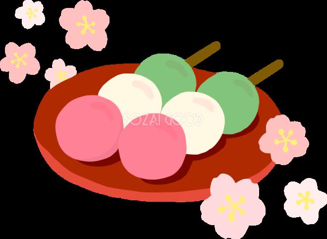 かわいい満開の桜とカラフルなお団子和菓子イラスト無料フリー83372