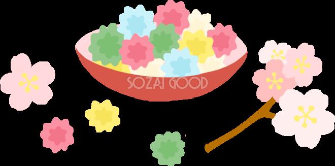 かわいい満開の桜とこんぺいとう和菓子イラスト無料フリーid 素材good