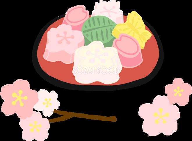 かわいい満開の桜と干菓子和菓子イラスト無料フリー83376 素材good