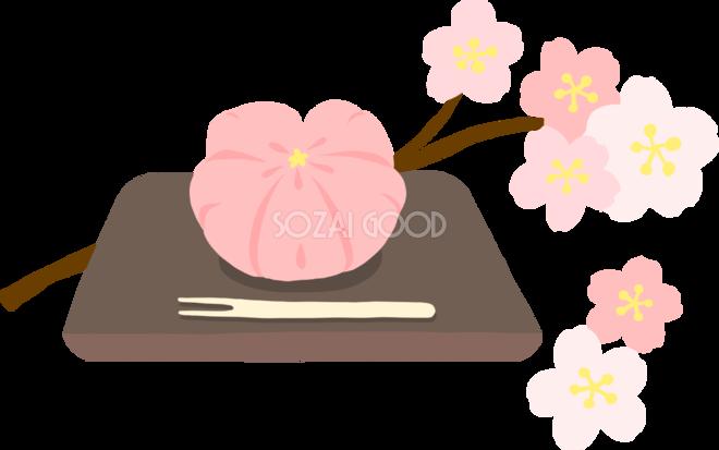 かわいい満開の桜と生菓子和菓子イラスト無料フリー83380 素材good